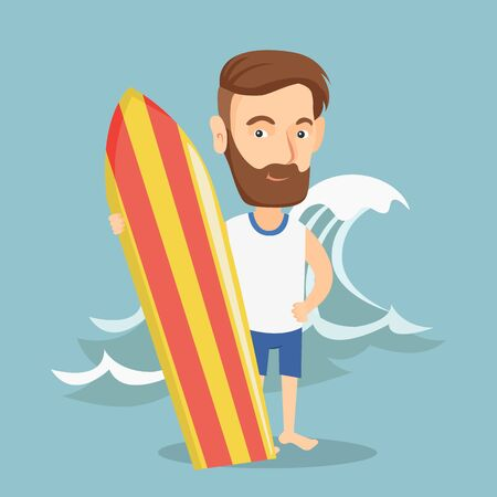 pastime: Caucasian hipster man with beard standing with a surf board on the beach. Young surfer holding a surf board on the background of sea wave. Vector flat design illustration. Square layout.
