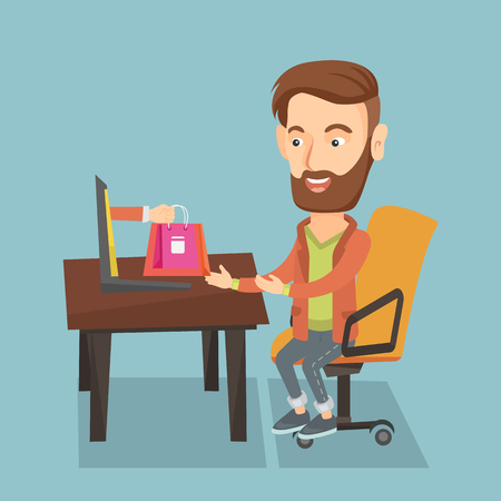 eshop: Young hipster man getting shopping bags from a laptop. Man making an online order in a virtual shop. Caucasian man using a laptop for online shopping. Vector flat design illustration. Square layout.