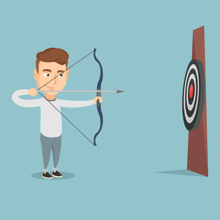 Young caucasian bowman aiming with a bow and arrow at the target. Concentrated bowman shooting an arrow during an archery competition. Vector flat design illustration. Square layout.