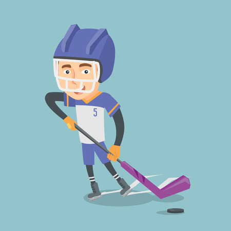 Young caucasian ice hockey player skating on the ice rink with a stick. Illustration
