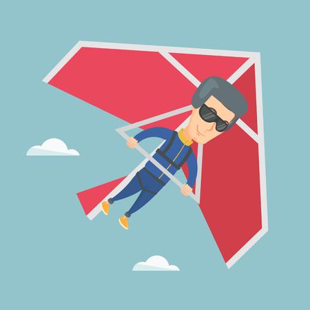 Sourire caucasien volant sur le parapente. Banque d'images - 80476513
