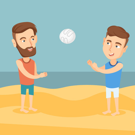 A hipster man with the beard playing beach volleyball with his friend. Illustration