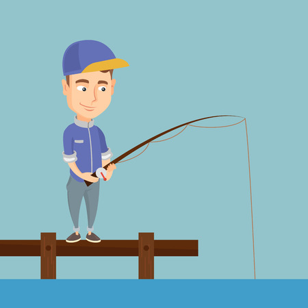pastime: Cheerful fisherman fishing on lake. Young caucasian man relaxing during fishing on jetty. Angler standing on the jetty with a fishing-rod in hands. Vector flat design illustration. Square layout.