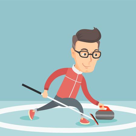 스케이트장에 컬링을 재생하는 스포츠맨.