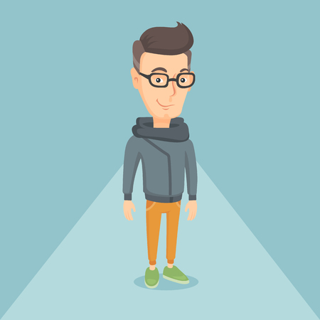 Man posing on the catwalk on a fashion event. Model walking on the catwalk during a fashion week. Man standing on the catwalk during a fashion show. Vector flat design illustration. Square layout.