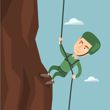 Young climber in protective helmet climbing a mountain. Caucasian smiling man climbing a mountain with a rope. Sport and leisure activity concept. Vector flat design illustration. Square layout.