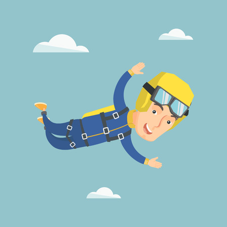 Caucasian parachutist jumping with a parachute. Professional parachutist falling through the air. Happy young man flying with a parachute in the sky. Vector flat design illustration. Square layout.