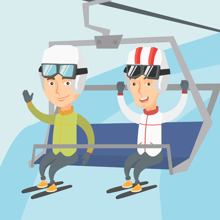 Happy skiers sitting on ski elevator with raised hands. Excited skiers using a cableway at winter ski resort. Winter sport and leisure activity concept. Vector flat design illustration. Square layout.