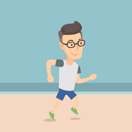 Cheerful caucasian sportsman jogging on the beach. Smiling adult sportsman jogging along the seashore. Summer sport and leisure activity concept. Vector flat design illustration. Square layout. Stock Illustratie