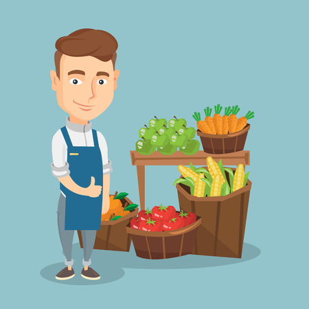 Young caucasian male supermarket worker giving thumb up while standing on the background of shelves with vegetables and fruits in a supermarket. Vector flat design illustration. Square layout.