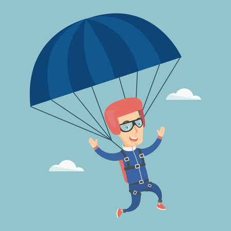 descending: Caucasian parachutist flying with a parachute. Young happy parachutist descending with a parachute in the sky. Sport and leisure activity concept. Vector flat design illustration. Square layout.