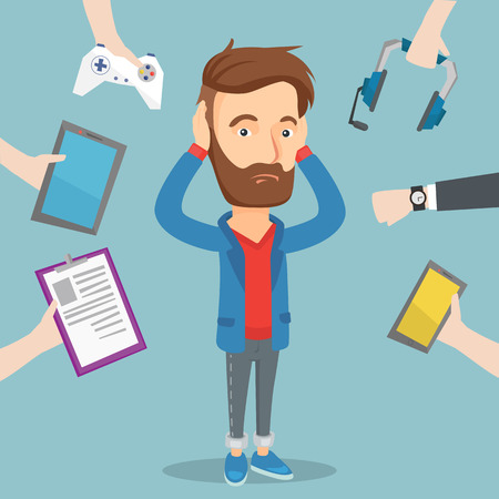 earbud: Desperate caucasian man clutching his head and many hands with modern gadgets around him. Embarrassed young man surrounded with many electronic gadgets. Vector flat design illustration. Square layout. Illustration