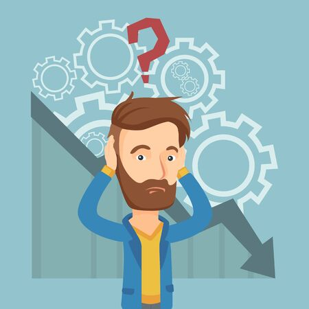 Bankrupt clutching his head on the background of chart going down. Bankrupt with a big question mark above his head. Concept of business bankruptcy. Vector flat design illustration. Square layout.