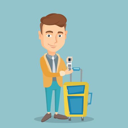 Bedrijfsklasse passagier in de buurt van koffer met voorrang bagage tag. Jonge Kaukasische zakenman met reisverzekering tag. Vector platte ontwerp illustratie. Vierkant layout.