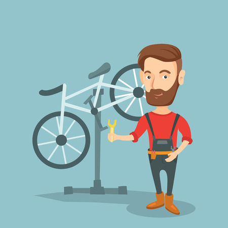 Caucasian hipster man with beard working in bike workshop. Technician fixing bicycle in repair shop. Bicycle mechanic repairing bicycle. Vector flat design illustration. Square layout.