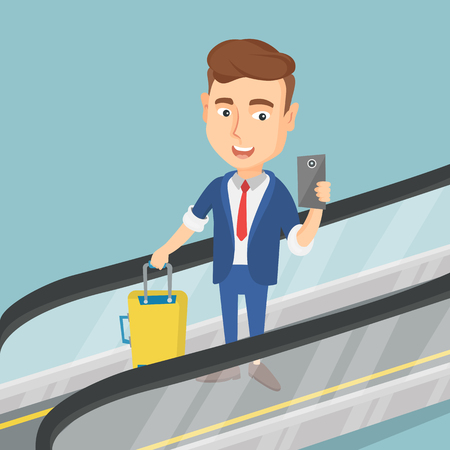 Young caucasian businessman using smartphone on an escalator at the airport. Businessman standing on an escalator with suitcase and taking selfie. Vector flat design illustration. Square layout.