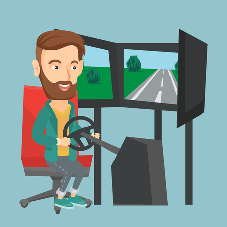 Excited Caucasian man playing video game with gaming wheel. Happy smiling gamer driving auto-simulator in game room.
