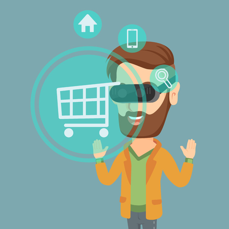 Young caucasian hipster man with beard wearing virtual reality headset and looking at shopping cart icon.