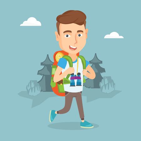 Young backpacker with backpack and binoculars walking outdoor. Ilustracja