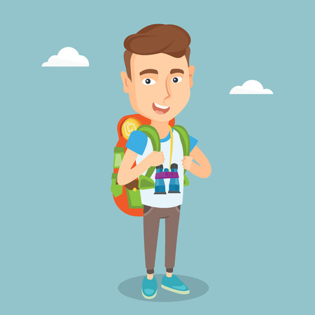 Hiking traveler man standing with backpack and binoculars.