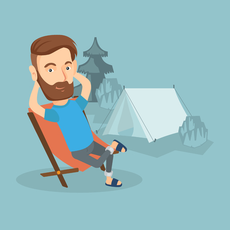 Satisfied hipster man with the beard sitting in a folding chair in the camp. Ilustração