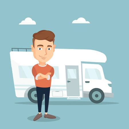 Confident man standing with arms crossed in front of motor home. Young caucasian man enjoying his vacation in motor home. Vector flat design illustration. Square layout.