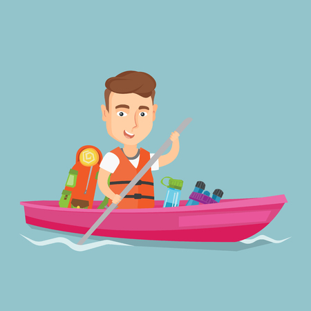 Young traveler man riding in a kayak on the river. Illustration