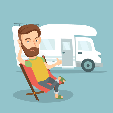 Hipster man with beard sitting in a folding chair and giving thumb up on the background of camper van. Ilustração