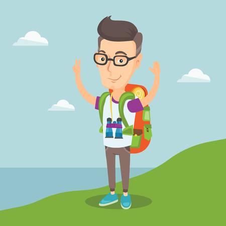binoculars view: Cheerful smiling tourist with backpack standing on the cliff with raised hands and enjoying the scenery. Satisfied happy man hiking in the mountains. Vector flat design illustration. Square layout.
