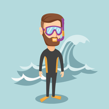 Hipster man with beard in diving suit, flippers, mask and tube standing on the background of a big wave. Young caucasian man enjoying diving. Vector flat design illustration. Square layout. Illustration