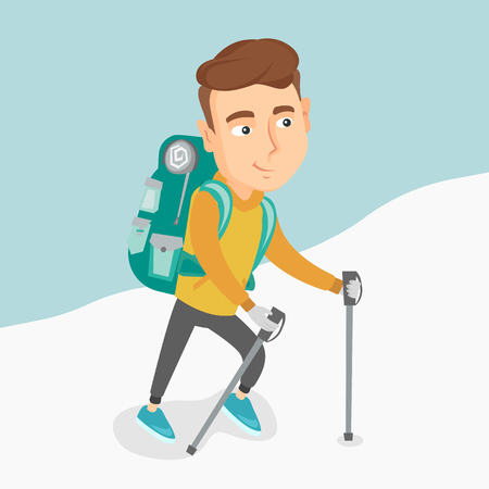 Caucasian mountaneer climbing a snowy ridge. Young hiker climbing a the mountains. Mountaineer with backpack walking up along a snowy ridge. Vector flat design illustration. Square layout. Ilustração