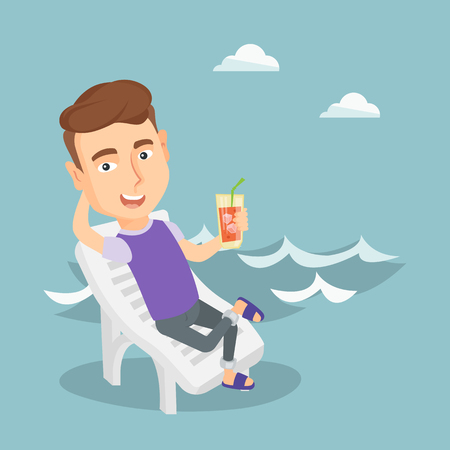 Joyful man sitting on a chaise longue on the beach. Happy man drinking a cocktail on the beach. Excited caucasian man resting with cocktail on the beach. Vector flat design illustration. Square layout
