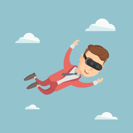 Businessman wearing virtual reality headset and flying in the sky. Illustration