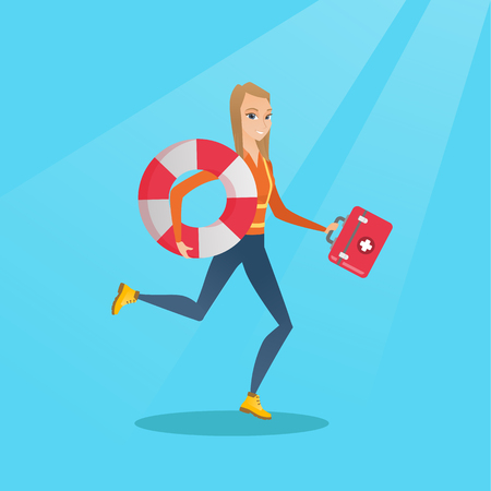 Young caucasian paramedic running to patients. Paramedic running with a first aid box. Emergency doctor running with a first aid box and a lifebuoy. Vector flat design illustration. Square layout.