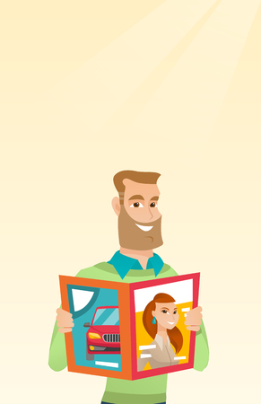 Caucasian man reading a magazine. Young man standing with a magazine in hands. Hipster man holding a magazine. Happy man reading news in a magazine. Vector flat design illustration. Vertical layout.