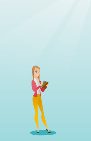 Young journalist writing in a notebook with a pencil. Smiling journalist writing notes with a pencil. Caucasian journalist writing notes in a notepad. Vector flat design illustration. Vertical layout. Illustration