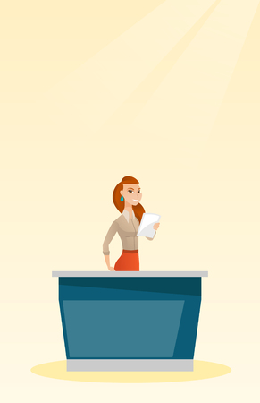 newsreader: Television anchorwoman working in the studio. Young caucasian television anchorwoman standing at the table in the studio during live broadcasting. Vector flat design illustration. Vertical layout.