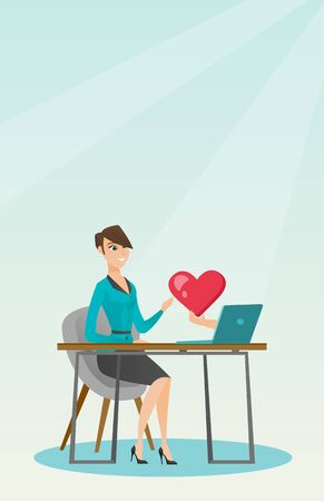 Young woman looking for online date on the internet. Woman using a laptop and dating online. Woman dating online and getting a virtual love message. Vector flat design illustration. Vertical layout.