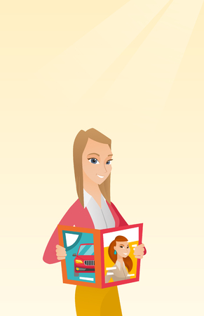 Caucasian woman reading a magazine. Young woman standing with a magazine in hands. Woman holding a magazine. Happy woman reading news in a magazine. Vector flat design illustration. Vertical layout. Illustration