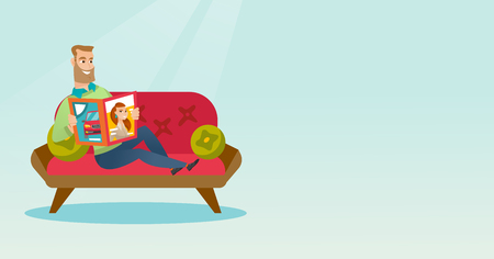 Young caucasian man reading a magazine. Man sitting on the couch and reading a magazine. Hipster man sitting on the couch with a magazine in hands. Vector flat design illustration. Horizontal layout.