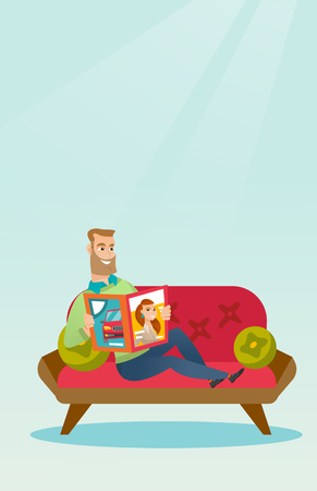 Young caucasian man reading a magazine. Man sitting on the couch and reading a magazine. Hipster man sitting on the couch with a magazine in hands. Vector flat design illustration. Vertical layout.