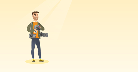 Cheerful paparazzi with many cameras. Young caucasian male photographer with many photo cameras equipment. Professional journalist with many cameras. Vector flat design illustration. Horizontal layout