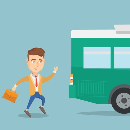 Young businessman chasing a bus. Caucasian businessman running for an outgoing bus. Latecomer businessman running to reach a bus. Vector flat design illustration. Square layout