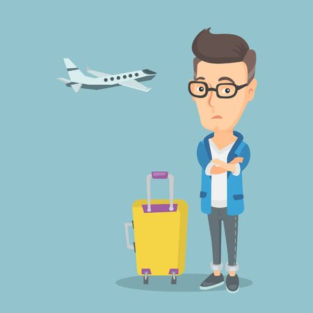 terrified: Man suffering from fear of flying. Illustration