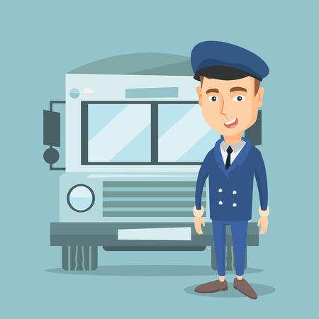 Smiling school bus driver in uniform. Ilustrace