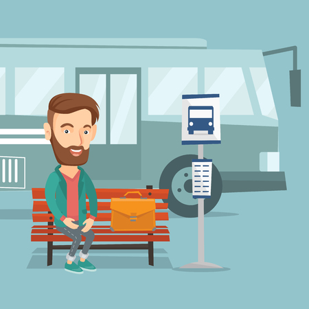 Young businessman sitting at the bus stop. Illustration