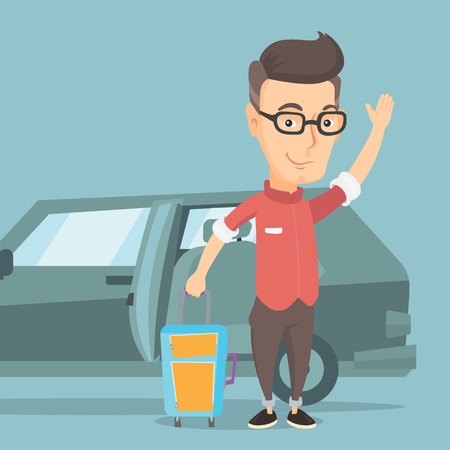 Man traveling by car. Man waving in front of car.