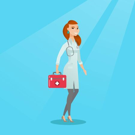Caucasian doctor in medical gown holding a first aid box. Friendly doctor in uniform standing with a first aid kit. Doctor carrying a first aid box. Vector flat design illustration. Square layout. Vettoriali