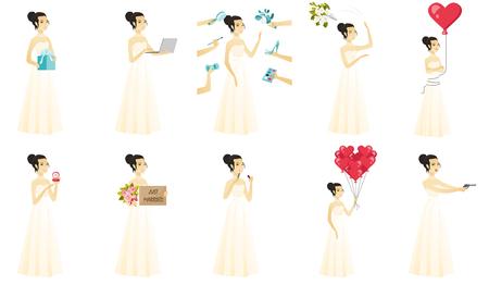 Set of bride  illustrations isolated on white background. Illustration