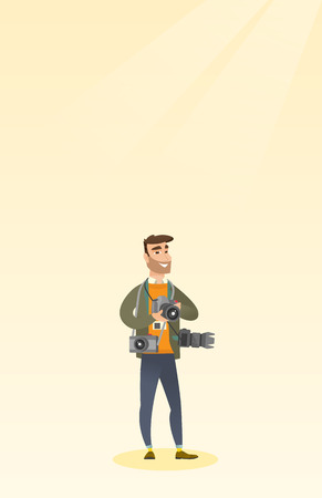 snapshots: Cheerful paparazzi with many cameras. Young caucasian male photographer with many photo cameras equipment. Professional journalist with many cameras. Vector flat design illustration. Vertical layout.